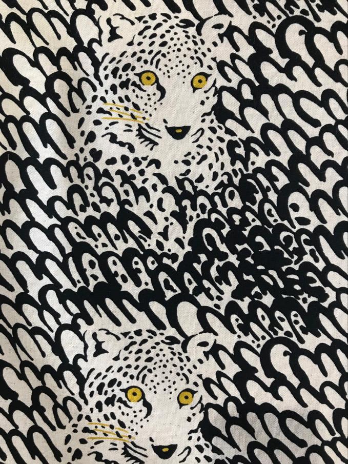 Kokka Fabric Trefle Spotty Cats Grey Cotton Sateen HALF METRE
